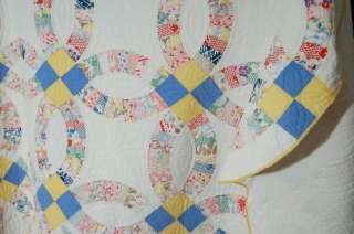 Large 30s Vintage Double Wedding Ring Antique Quilt ~NICE BLUE