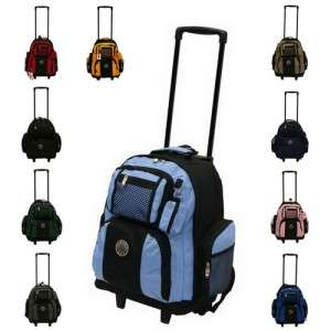 NEW 18 ROLLING WHEELED BACKPACK/ BOOKBAG ( 10 COLORS )