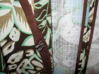 Maggie Barnes Brown White Aqua Floral Design Jacket Pockets 22 / 24 2X
