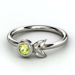 Boutonniere Ring, Round Peridot Palladium Ring Jewelry