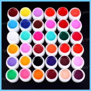 Lot 36 Pots Cover Pure Colors Nail Art UV Builder Gel Nail Tips DIY