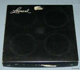 Vintage Leonard Silverplate Glass Coaster Set / Italy