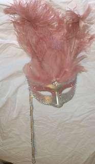 Light Lt Pastel Pink Silver Stick Venetian Masquerade Mardi Gras