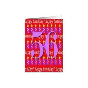 56 Years Old Lit Candle Happy Birthday Card Toys & Games