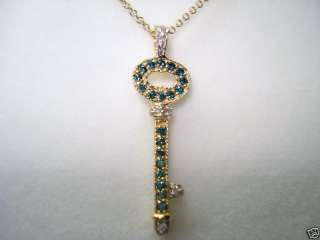 14K YELLOW GOLD BLUE & WHITE DIAMONDS KEY PENDANT NECKLACE HAND MADE