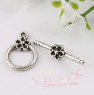 50 Useful Ancient Silver Plated Flower Toggle Clasps 1