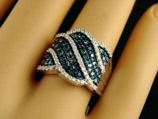 New 10K White gold Blue and White diamond Fashion Band Diamond Ring