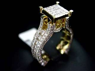 WOMENS DIAMOND ENGAGEMENT RING 14K YELLOW GOLD PRINCESS