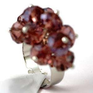 Crystal Glass 18K GP Adjustable Zircon Cooktail Ring Fashion
