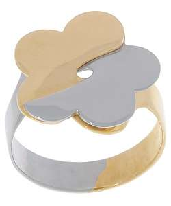 14k Two tone Gold Flower Ring