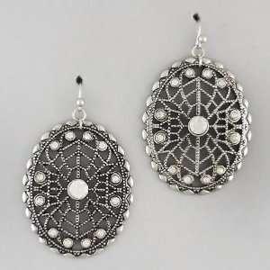 Jewelry Clear Crystal Oval Shape Dangle Earring Set