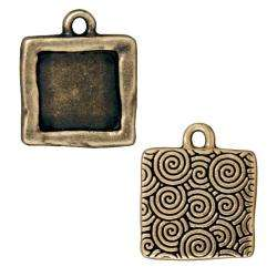 Brassplated Pewter Square Picture Frame Charms (Set of 2)