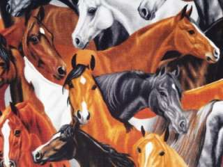 Horses Country Animal Fabric BTY Timeless Treasures Brown
