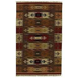 Hand woven Dhurry Wool Rug (5 x 8)