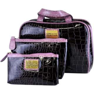 Reaction 3 Piece Embossed Croc Pattern Cosmetic Travel Bag Set