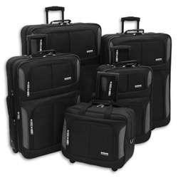 Advantage Black Streamline 5 piece Luggage Set