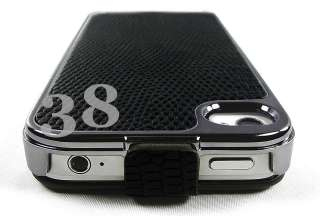 Flip Leather Chrome Case Cover Skin for Apple iPhone 4 4S 4G