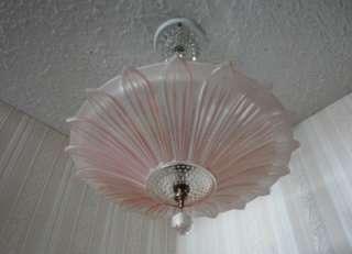 SUNFLOWER PETAL GLASS ART DECO Ceiling Light Fixture CHANDELIER