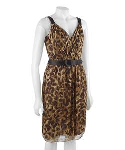 Famous NY Maker Leopard Print Silk Cocktail Dress