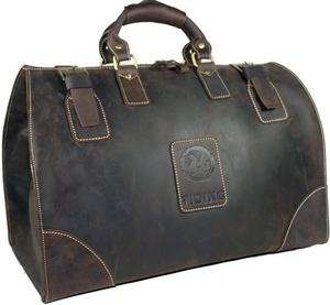 Bull Leather Mens Luggage Travel Duffle Gym Bags Tote Heavy Duty Bag