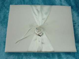 New Ivory Satin Triple Open Hearts Wedding Guest Book