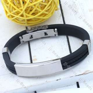 Stainless Steel Black Rubber Bracelet Wristband Cuff Boy Bangle