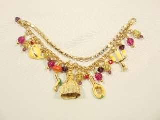 Couture Princess Beauty the Beast gold charm bracelet rhinestones