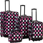 Rockland Fashion 4 Piece Luggage Set, Black with Pink and White Dots