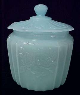 Milk Blue Depression Glass Cookie Jar Mayfair New