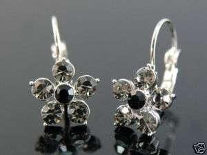 Unique Black Flower Earrings w/ Swarovski Crystal SE055