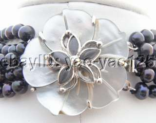 Beautiful 5Strds Black Pearl&Onyx Necklace