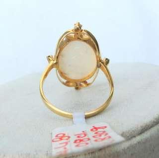 Fabulous 14 K Gold Opal & Diamond Gemstone Ring India