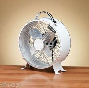 Deco Breeze 9 Metal Box Desk Retro Fan White
