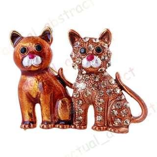 Free brown cat chic Brooch pin W rhinestone alloy1x