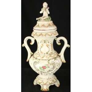 Italian Capo Di Monte Style Vase Ginger Jar Boy Flowers