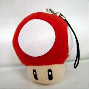 Super Mario Bro. RED Mushroom Plush Phone Charm Toys