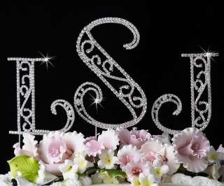 ROMAN Crystal Monogram Initials Wedding Cake Topper