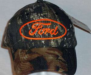 Camouflage Florescent Orange FORD Ball Cap Trucker Hat Hunting Camo