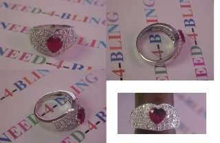 PREMIER CHIC RUBY HEART SHAPE PAVED CUBIC ZIRCONIA DESIGNS S 8