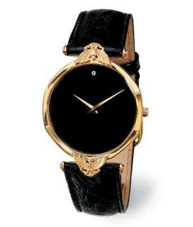 NEW FRANKLIN MINT SOLID GOLD EAGLE WATCH ONYX DIAMOND