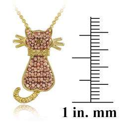 18k and Rose Gold over Silver Champagne Diamond Accent Cat Necklace
