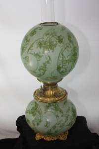 CONSOLIDATED GLASS BANQUET OIL LAMP (GREEN VELVET) GONE WITH THE WIND