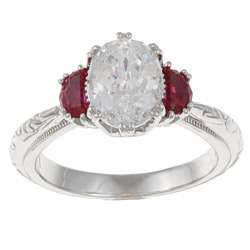 Tacori IV Sterling Silver Clear and Red Cubic Zirconia Royal Ring