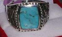 Bold Mens Sterling Silver genuine TURQUOISE Eagle Ring Sz 10
