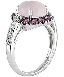 14k Gold 1/10ct TDW Diamond Rose Quartz Ring