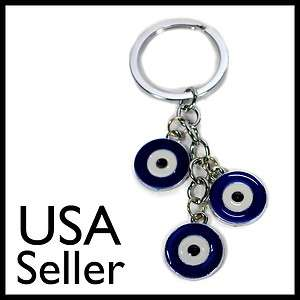 EVIL EYE KEYCHAIN Blue Metal Enamel Key Chain Ring 3 Protection Charm