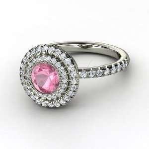 Natalie Ring, Round Pink Tourmaline 14K White Gold Ring