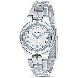 Fossil Womens Stainless Steel Crystal Accent Watch