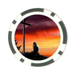 Man praying at cross christian Poker Chip Card Guard Great Gift Idea