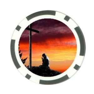 Man praying at cross christian Poker Chip Card Guard Great Gift Idea